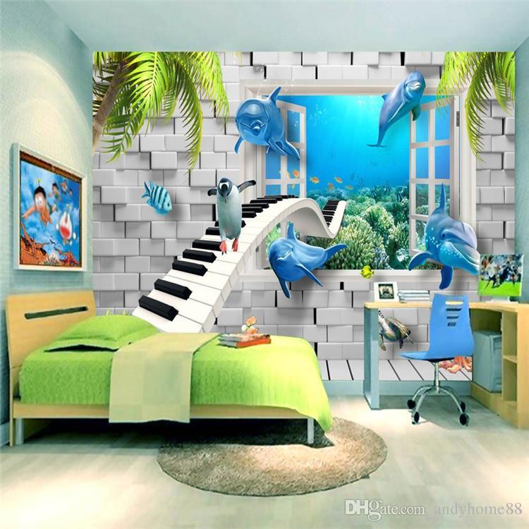 Cartoon Children Room Ocean Dolphin 3d Brick Wall Piano