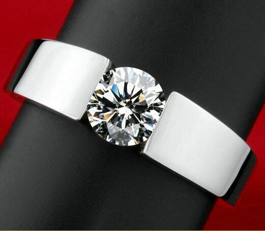 2018 Classic Engagement 925 Silver Ring Men 18K Real White