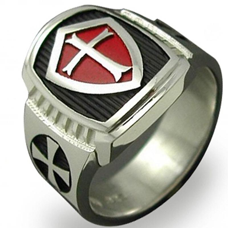 Size 7 15 Stainless Steel Black Red Crusade Cross Ring