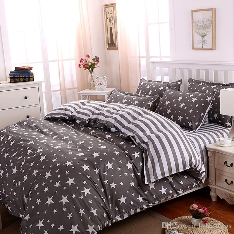 acheter les ensembles de literie de polyester de rayures d etoiles ensemble de lit de couverture de gris ensemble les lits de lit de complet de roi de