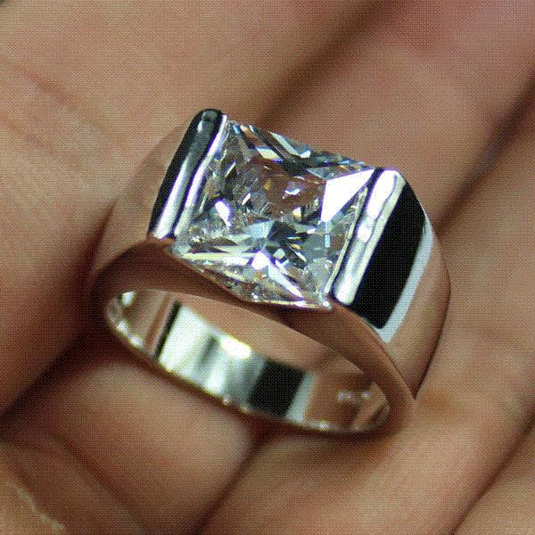 Mens 925 Silver Sqaure Green Emerald White Sapphire Stone