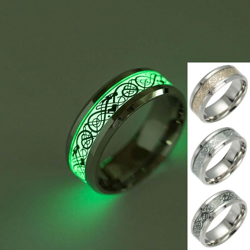 Titanium Dragon Tattoo Ring Fluorescent Light Finger Rings