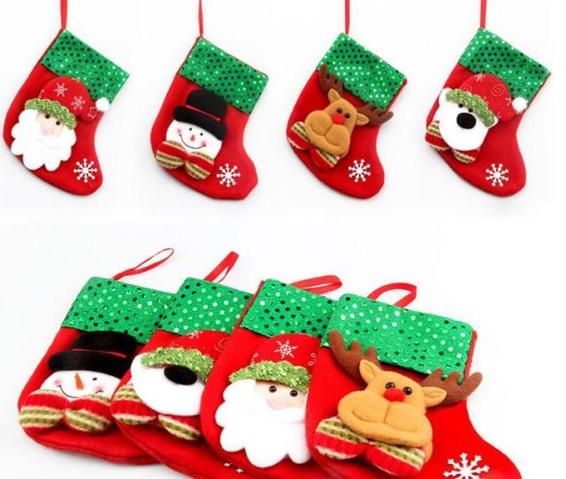 New Fashion Christmas Stocking Gift Bags Small Xmas Stocking Christmas Decorative Sequins Socks Bags Festival Party Ornaments Supplies Best Christmas