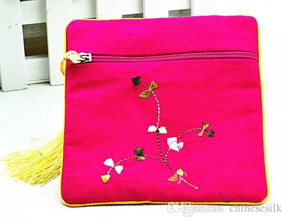 Small Embroidered Cotton Linen Cloth Zip Gift Bags Novelty