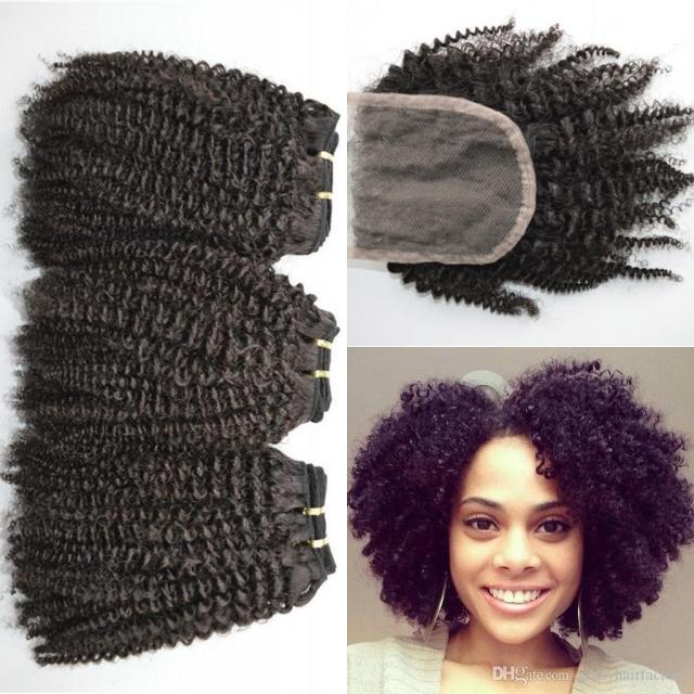 4a, 4b, 4c afro verworrenes lockiges menschliches haar weave bundles mit schnürverschluss natural black free mittleren drei teil schließung lauriej