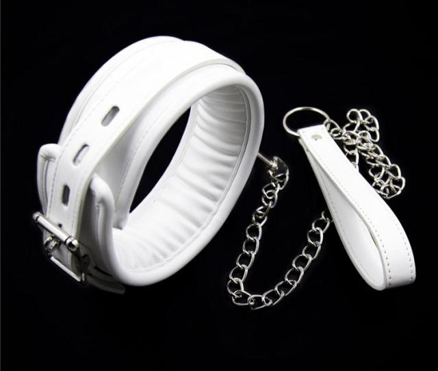 White Leather Bondage Harness Fetish Slave Collar Chain And Chain Leash Neck Corset Sex Adult Collars Restraints Bdsm Sexy Toys