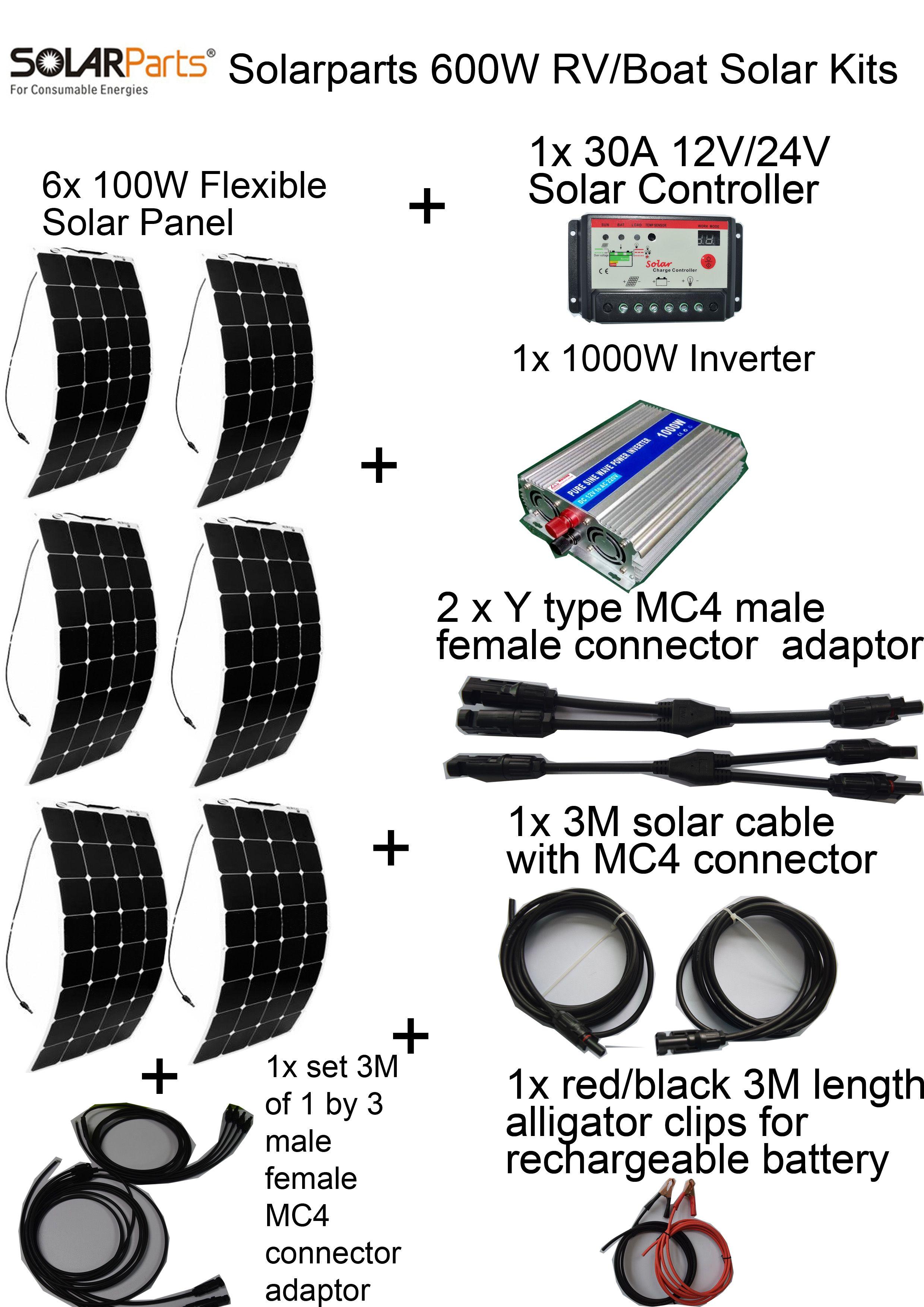 600w Diy Kits Solar System 6 X100w Flexible Solar Panel