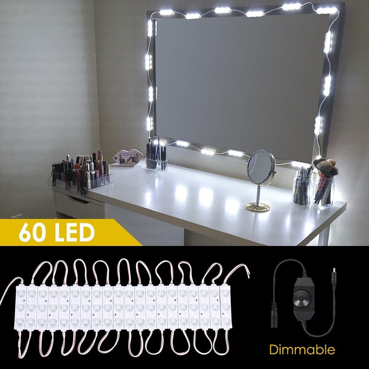acheter kits d eclairage de vanite de salle de bains bricolage pour miroir de vanite de maquillage cosmetique 60 led kit de miroir de maquillage eclaire