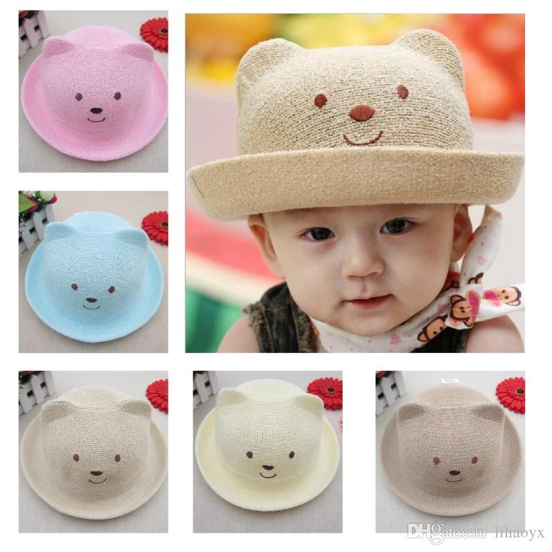 85aa6aff5f6 2018 Hot Baby Summer Hats For Beach Kids Outdoor Bear Children