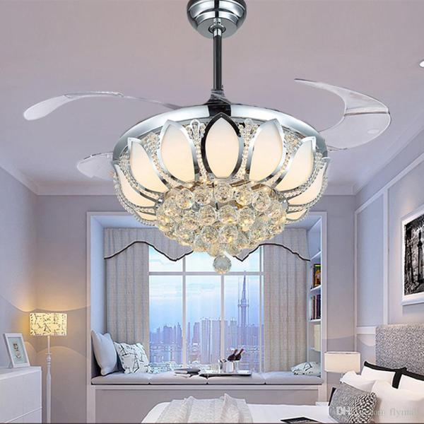 Online Cheap Modern Crystal Ceiling Fan 42 Inch Invisible Blades Led     Online Cheap Modern Crystal Ceiling Fan 42 Inch Invisible Blades Led  Folding Ceiling Fans Light Chandeliers Living Room Dining Room Lamp    Remote Control By