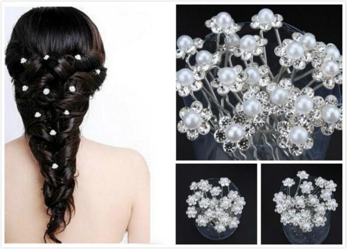 classic bridal hair accessories silver plated pearl rhinestone u pins  wedding head pieces party event hair pieces for girls & women