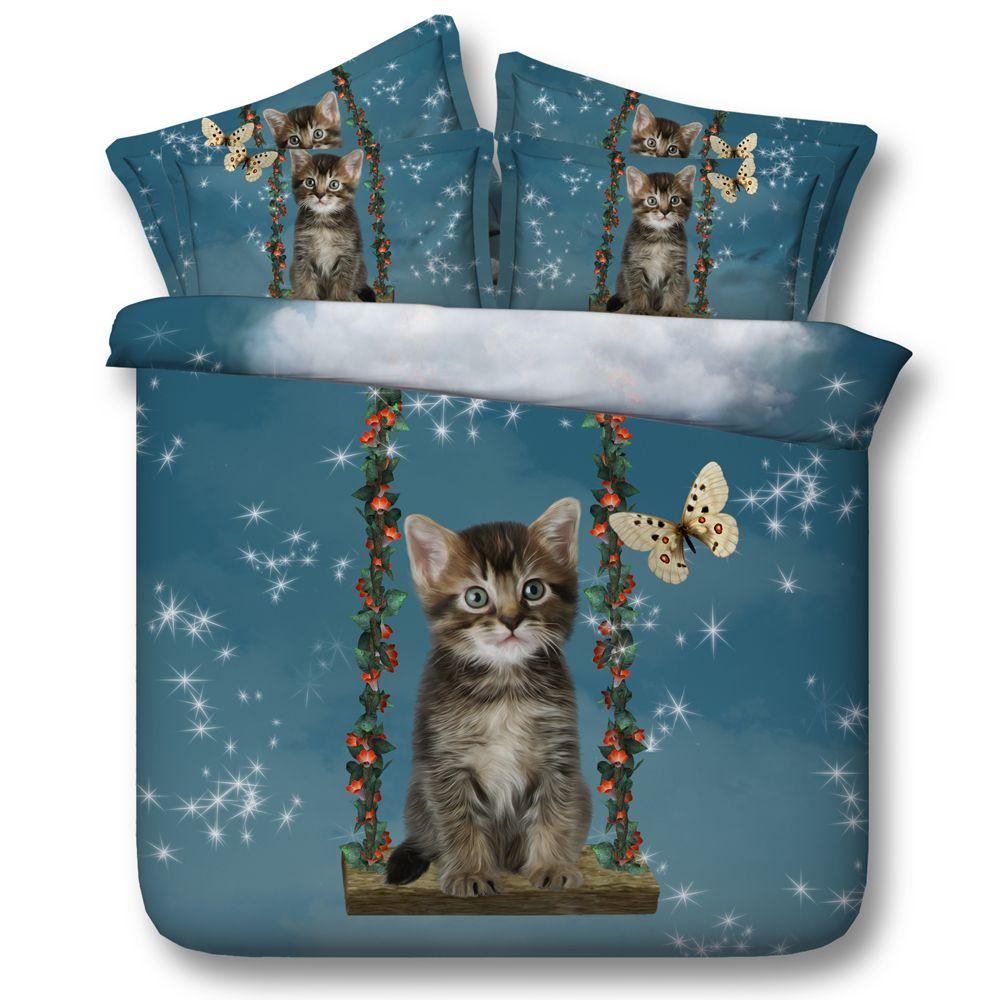 acheter nouveau 3d ensembles de literie mignon chat et papillon imprime drap plat ou draps couvert queen king california king size de 112 12 du