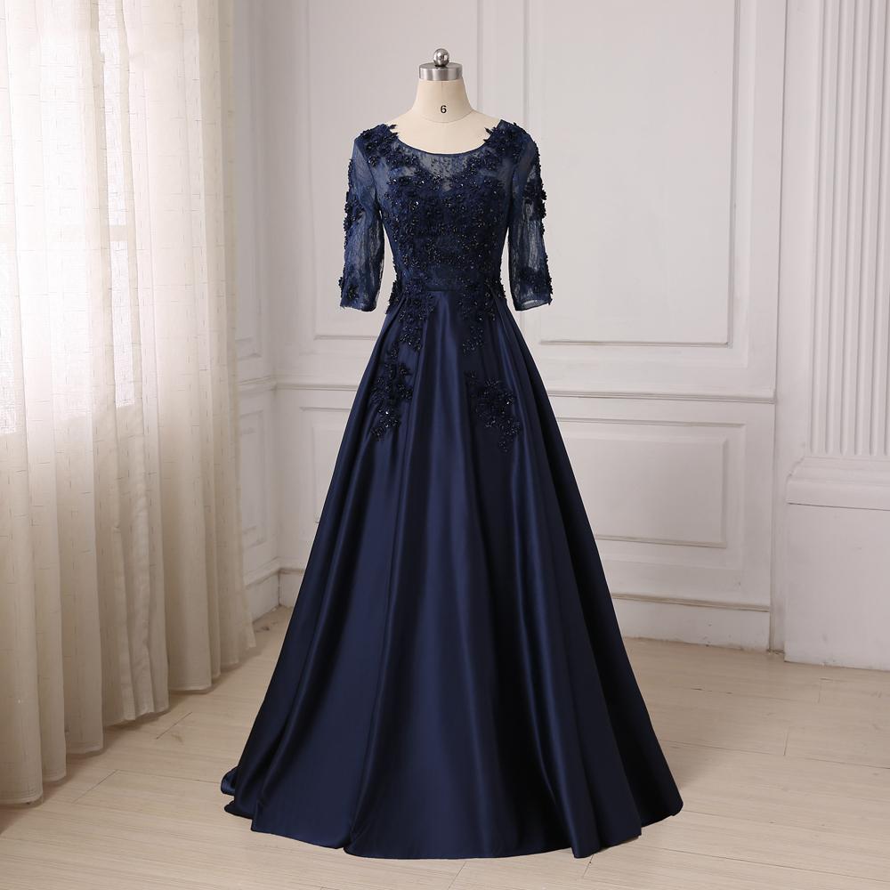 Evening Gowns For Fat Women 2017 Half Sleeves Long Dark ...