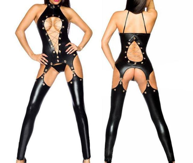 2019 Sexy Women Exotic Clubwear Faux Leather Wet Look Pvc Lingerie Catsuit Ladies Girl Fancy Dress Jumpsuit Xb850707 M Xl From Jeekwang 20 4 Dhgate Com