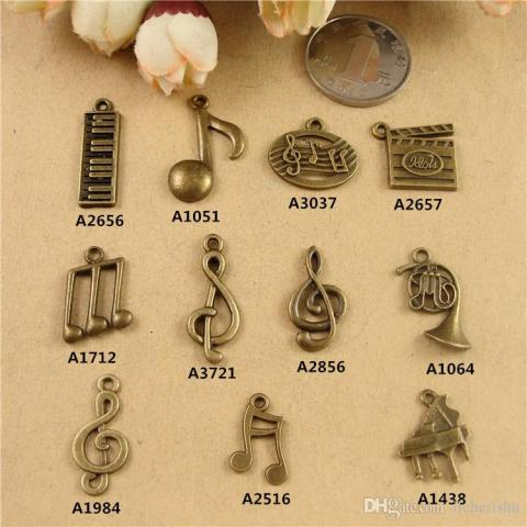 2018 Diy Alloy Jewelry Material Accessories Handmade Beaded Trinkets     2018 Diy Alloy Jewelry Material Accessories Handmade Beaded Trinkets Retro  Small Musical Instruments Charms  Guitar Music Symbol Note Pendants From
