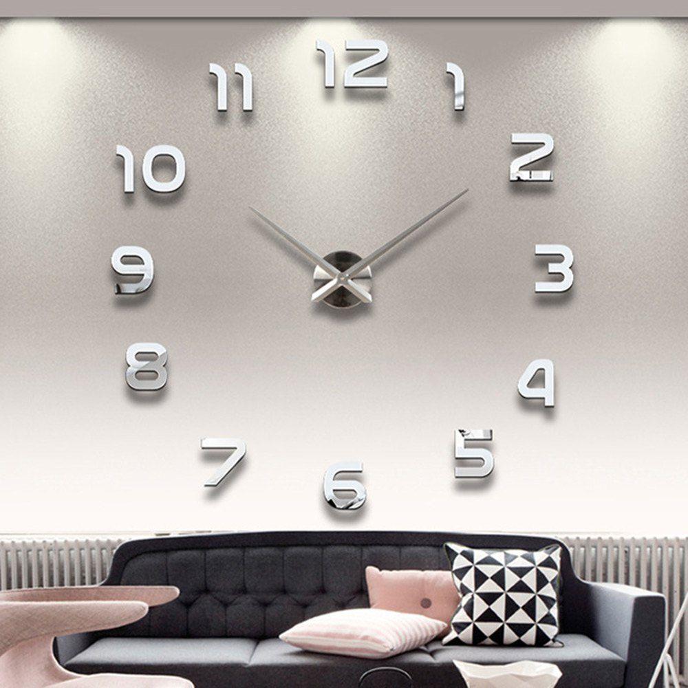 acheter decoration de la maison big number miroir horloge murale design moderne grand designer horloge murale 3d montre mur unique cadeaux de 25 87 du