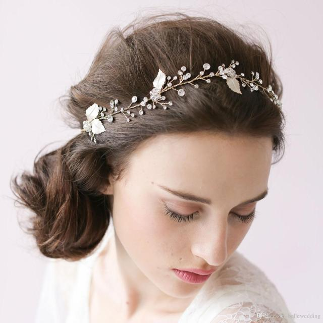 twigs & honey wedding headpieces hair accessories with silver leaves crystals women hair jewelry wedding tiaras bridal headbands #o12