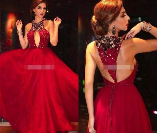 2017 Myriam Fares Red Celebrity Dresses Major Beaded Halter Neckline With Sexy Keyhole Cutout A Line T Strap Back Tulle Evening Dresses 2017 Colorful Prom