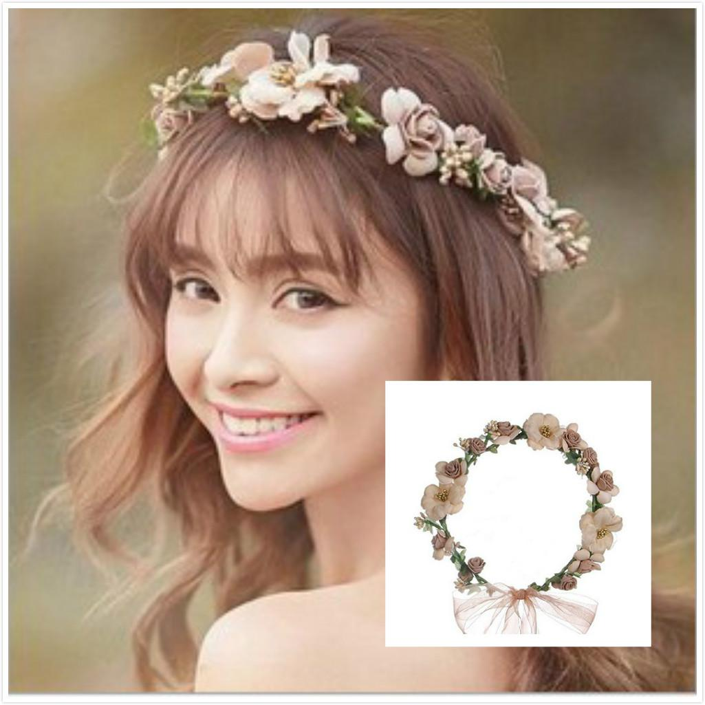 pretty bridal garland headband flower crown hair wreath halo with adjustable ribbon for wedding festivals bridal hair accessories bridal wreath bridal head