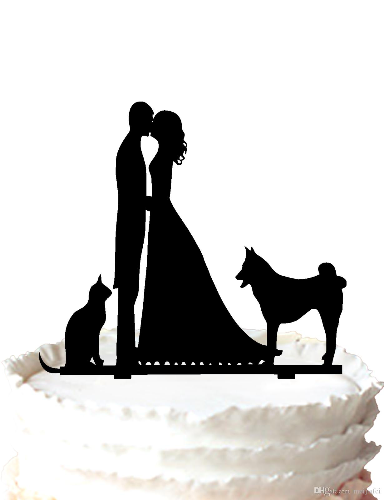 2018 Wedding Cake Topper With Bride  Groom  Cat  Dog Wedding Cake     2018 Wedding Cake Topper With Bride  Groom  Cat  Dog Wedding Cake Topper  Silhouette For Option From Meijiafei   18 21   Dhgate Com