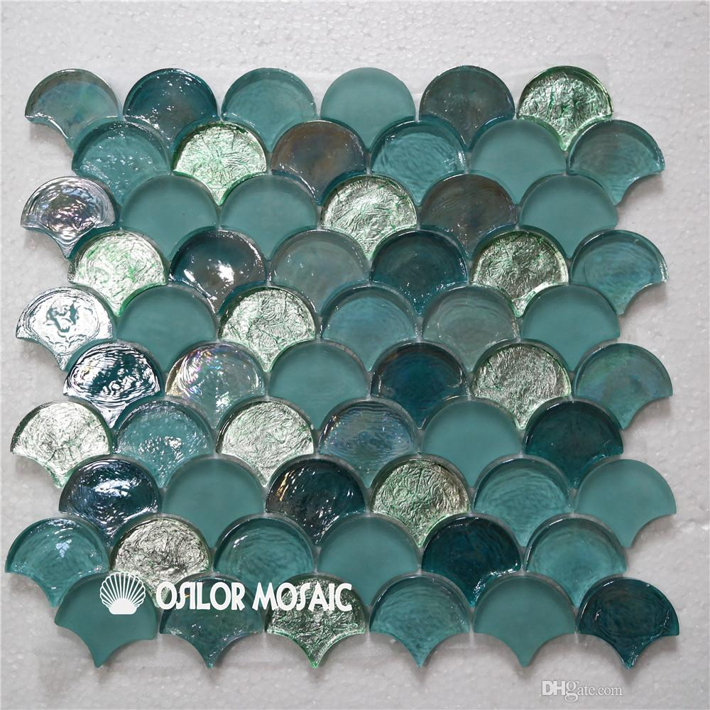 2018 Fan Shaped Blue And Green Glass Mosaic Tile For