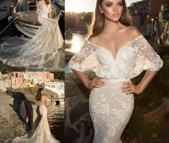 1f5ae8ae5213 Julie Vino 2018 Mermaid Wedding Dresses Sexy Deep V Neck Half Sleeves  Appliqued Lace Court Train