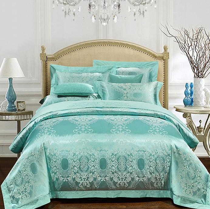 Aqua Green Bedding Set Luxury Girls Jacquard Bedspreads