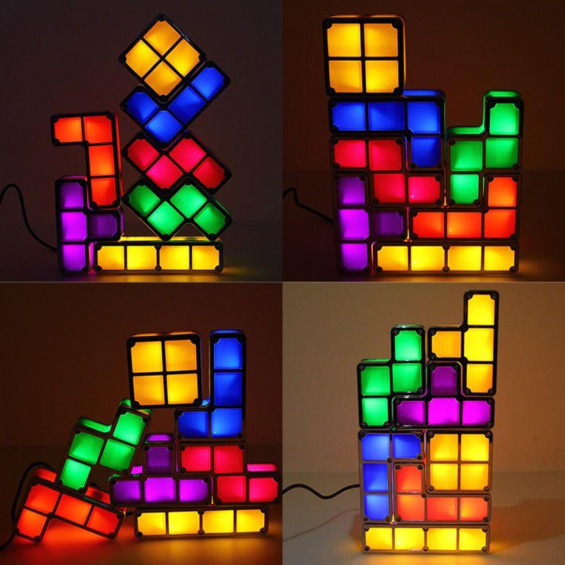 acheter led glow lampe de table tetris puzzle desk diy blocs colores magic lampe de nuit empilable constructible led cubes cadeau enfants jouets fuuny de