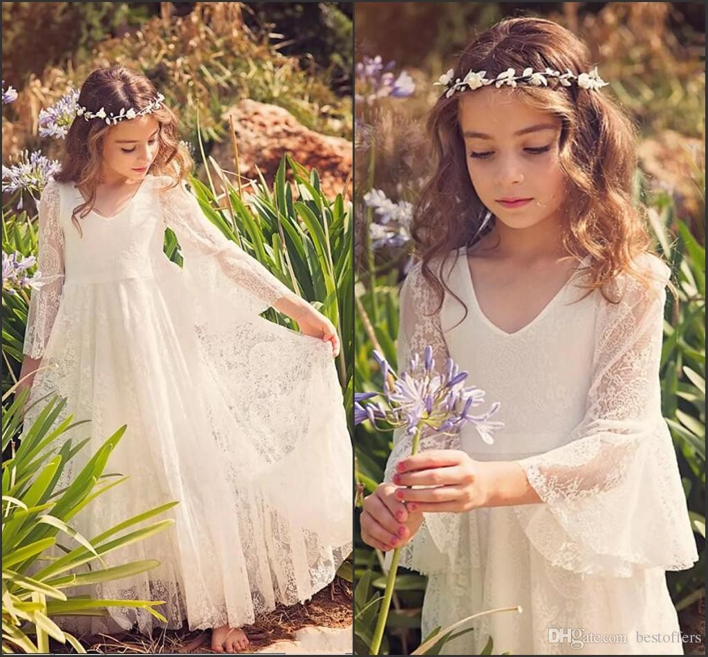 New Fancy A Line Lace Flower Girl Dresses Cheap