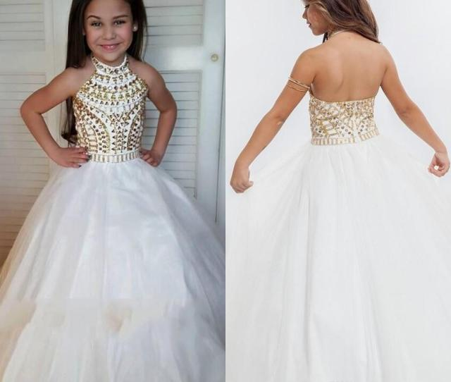 White Ball Gown Girls Pageant Dresses High Neck Halter Gold Crystal Tulle Backless Toddler Little Girls Pageant Dresses For Juniors Ritzee Girl Dresses