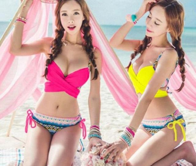 2019 Summer Hot 2017 Sexy Korean Style Sweet Women Bikini Set Girls Beach Swimwear Push Up Swimsuit From Hlq Dhgate Com