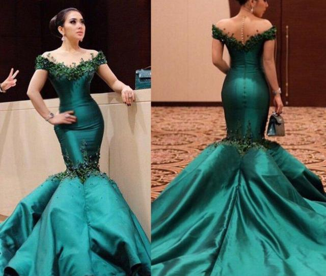 Real Photos Elegant Emerald Green Dresses Evening Wear Trumpet Train Off Shoulder Mermaid Party Gowns Beaded Appliques Quality Prom Dress Evening Dress