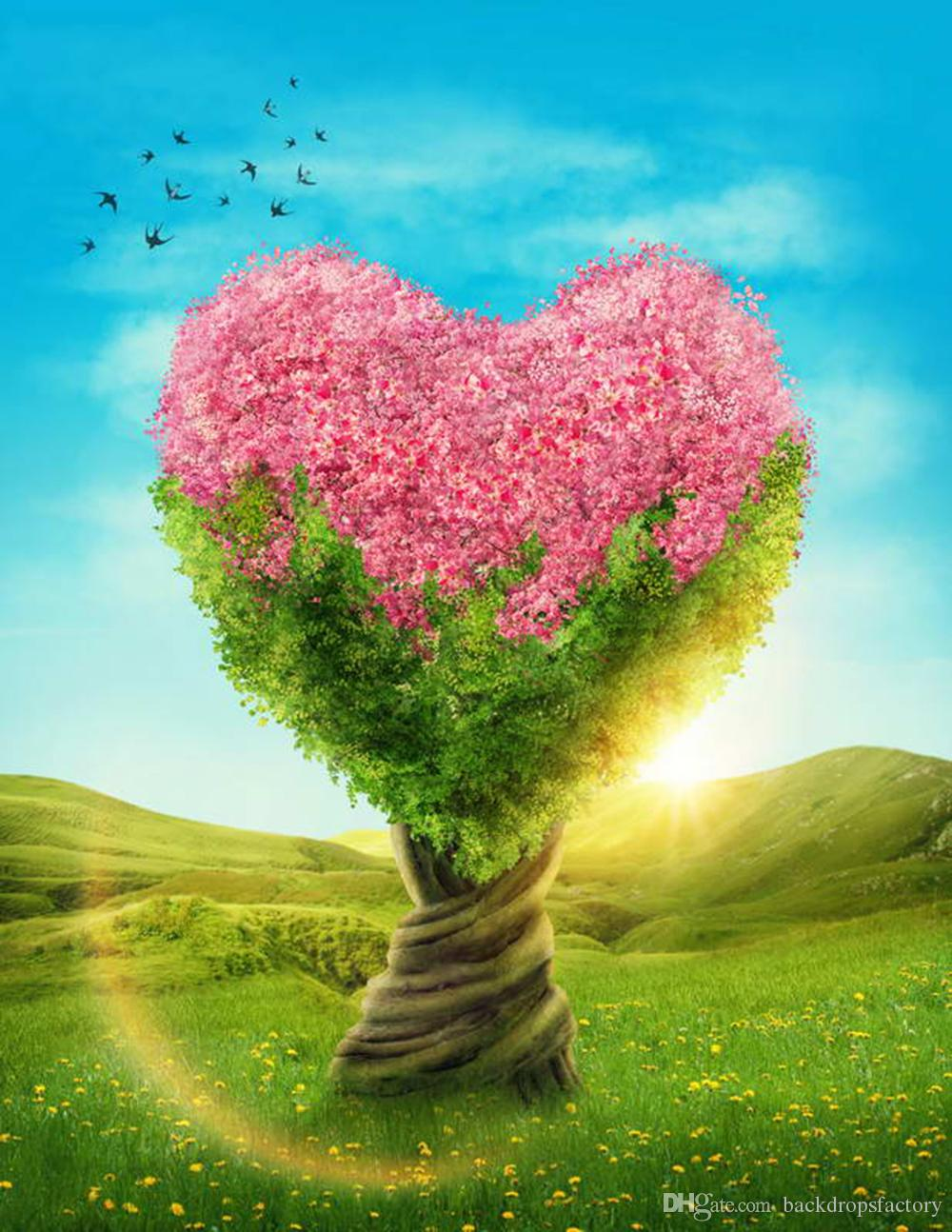 Heart Shaped Tree Backdrops With Pink Flowers Sunshine