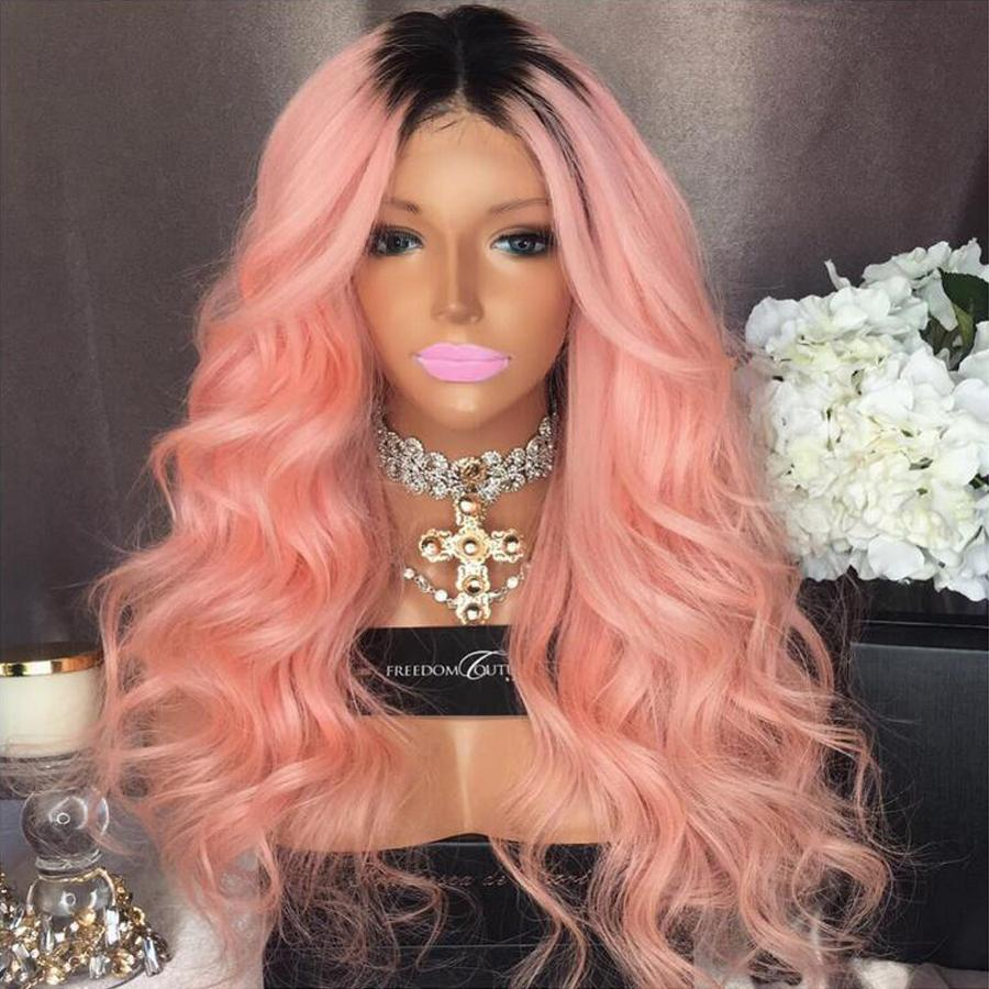 Full Lace Human Hair Wigs Ombre Two Tone T1BPink Wavy