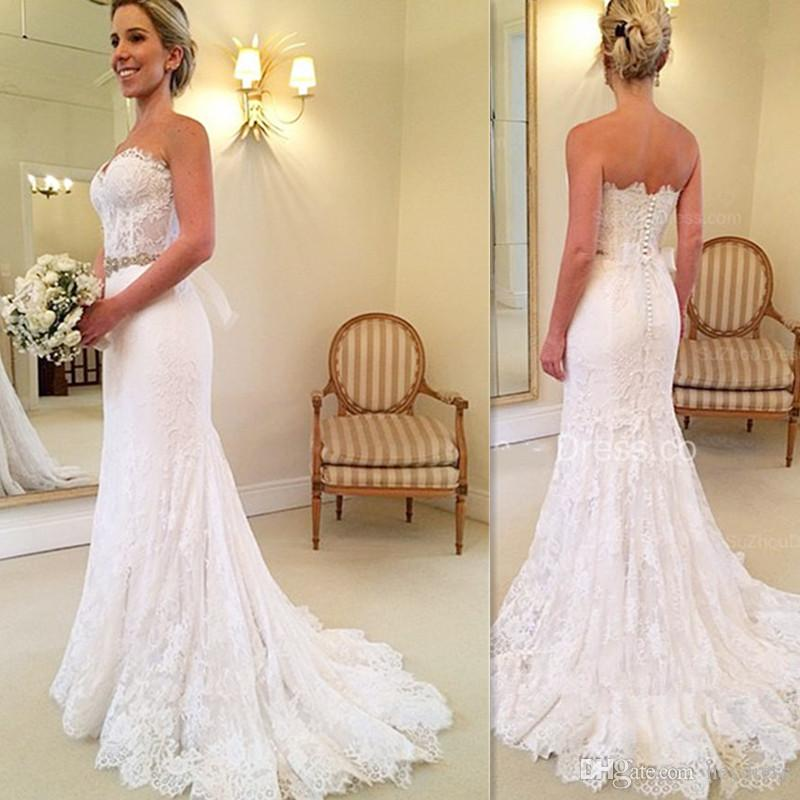 Simple Lace Trumpet Wedding Gowns Long 2017 Sweetheart