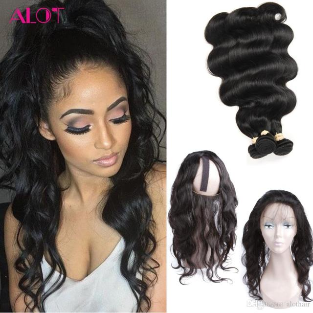 8a grade 360 lace frontal with 3 bundles brazilian virgin hair body wave weaves with full frontal closure pre plucked 4 pcs/lot