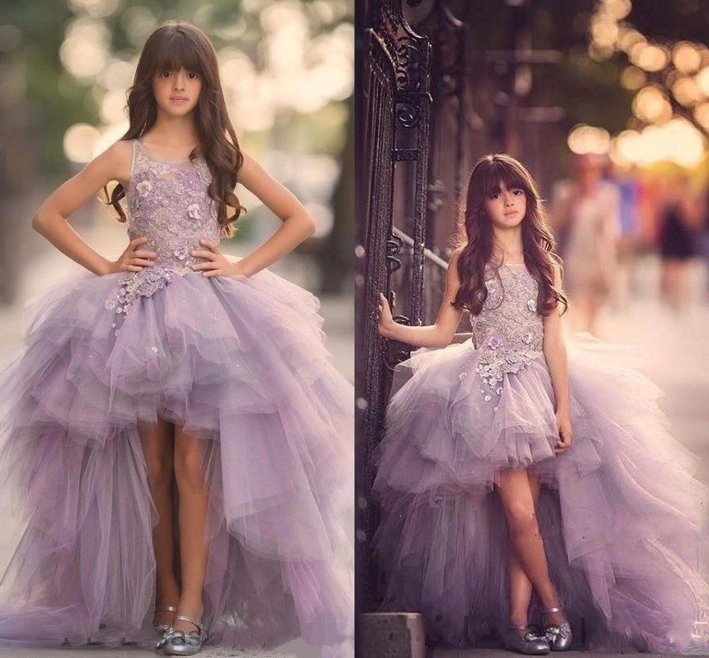 Luxury High Low Flower Girls Dress For Teens 3d
