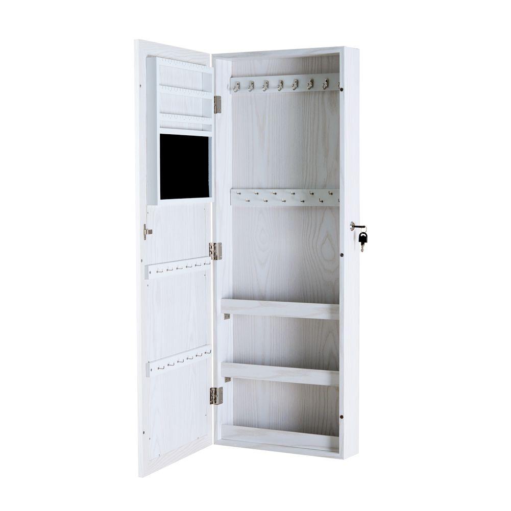 compre armario de armario de joias de madeira branco com joias de espelho organizado caixa de armazenamento para colar aneis e ect estoque nos eua de