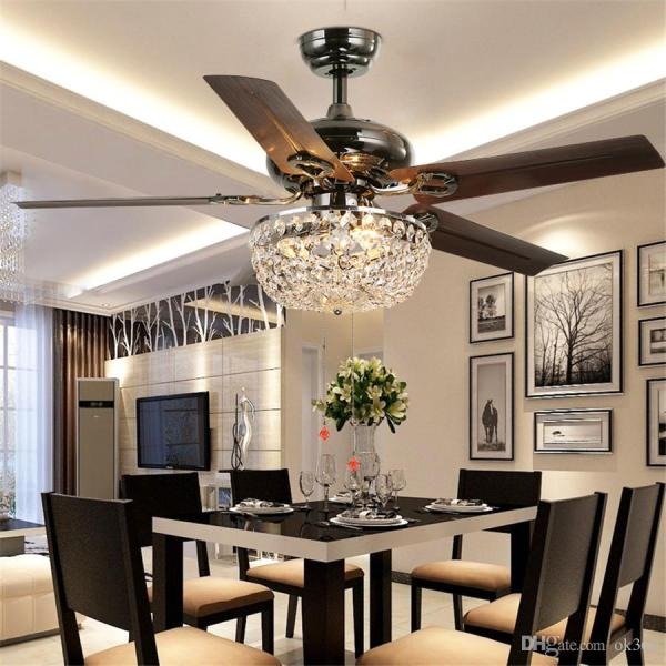 2018 Crystal Ceiling Fan Wood Leaf Antique Fan Light Fan Chandelier     2018 Crystal Ceiling Fan Wood Leaf Antique Fan Light Fan Chandelier With  Remote Control Dining Room Living Room Pendant Lamp From Ok360   559 6    Dhgate Com
