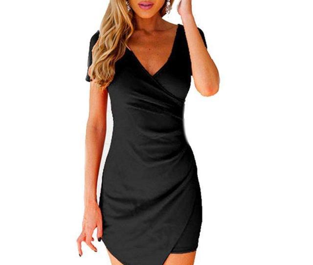 Wholesale Sexy Women Irregular Hem Bandage Bodycon Dress Party Short Sleeve V Neck Ball Mini Dress White Black Com Online Shopping Online With