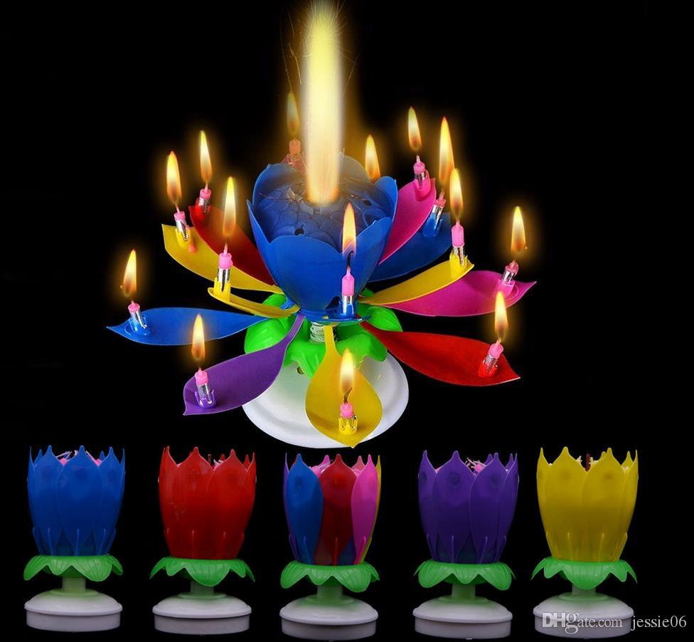 Musical Birthday Candle Magic Lotus Flower Candles Blossom Rotating Spin Party Candle 14 Small Candles 2layers Cake Topper Decoration From Jessie06 1 82 Dhgate Com