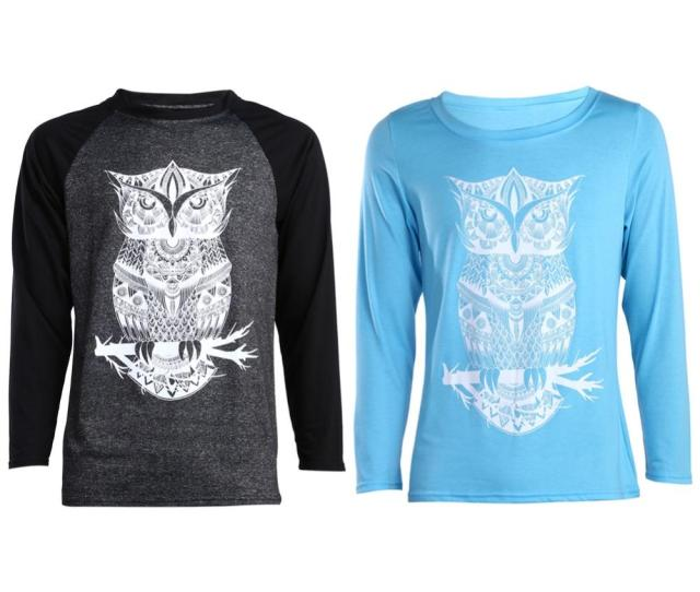 Valentine T Shirt Men Women Matching Couple Clothes Lovers Long Sleeve Slim Cotton Tshirt Owl Couple T Shirts Dm T Shirt Design Online Vintage Tees From