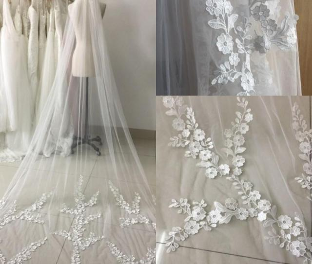 Real Picture  Meters One Layer Lace Long Elegant Wedding Bridal Veils With Comb Veu De Noiva Applique Edge Wedding Veils Cpa Types Of Bridal Veils