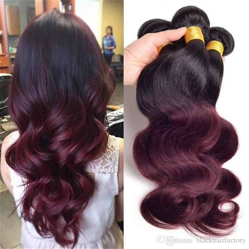 Ombre Weave Hair Bundle Two Tone Color 1B 99J Burgundy