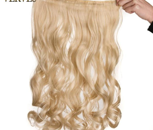 Clip In One Piece Blonde Wavy Long High Tempreture Synthetic Woman Hair Extension Hairpiece Mix Color Hair Extension Clips In Hair Extensions Clips On From
