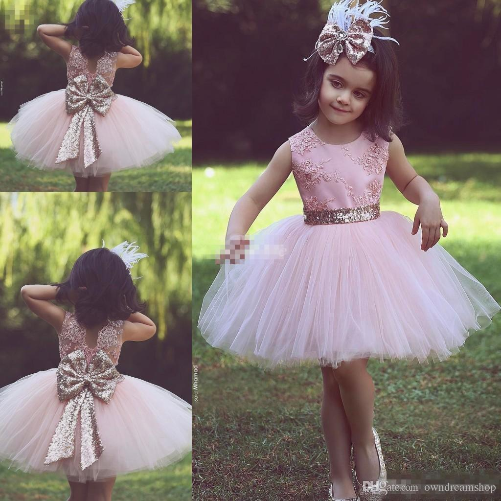 Cute Pink Short Flower Girl Dresses For Country Wedding