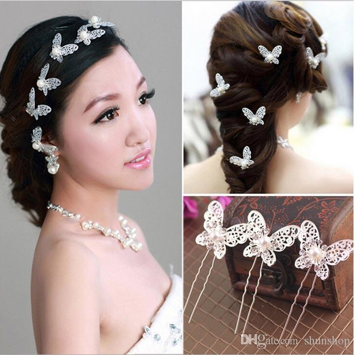 2019 shinning butterfly hair pins clips rhinestone pearl hair accessories bridal hair pieces women wedding party supplies from shunshop 7 84 dhgate com