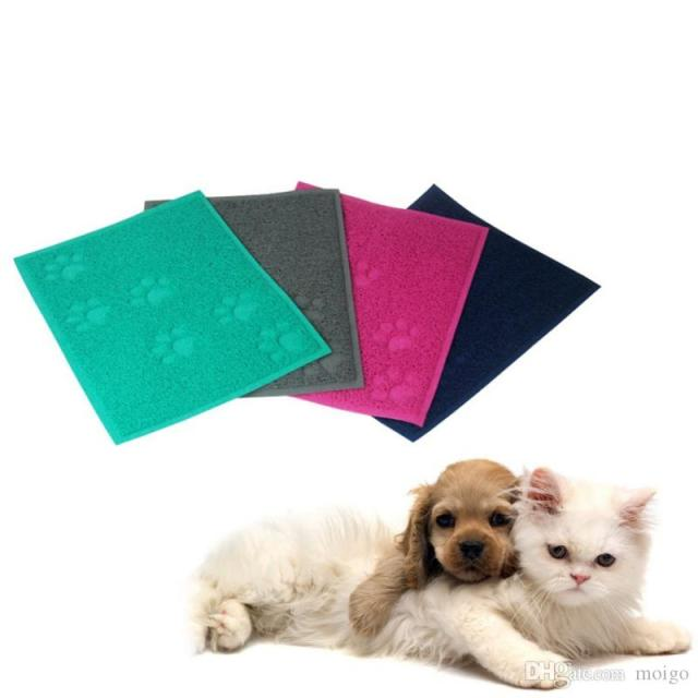 Pet Dog Puppy Cat Feeding Mat Pad Cute Paw Pvc Bed Dish Bowl Food Water Feed Placemat Wipe Clean Pet Supplies