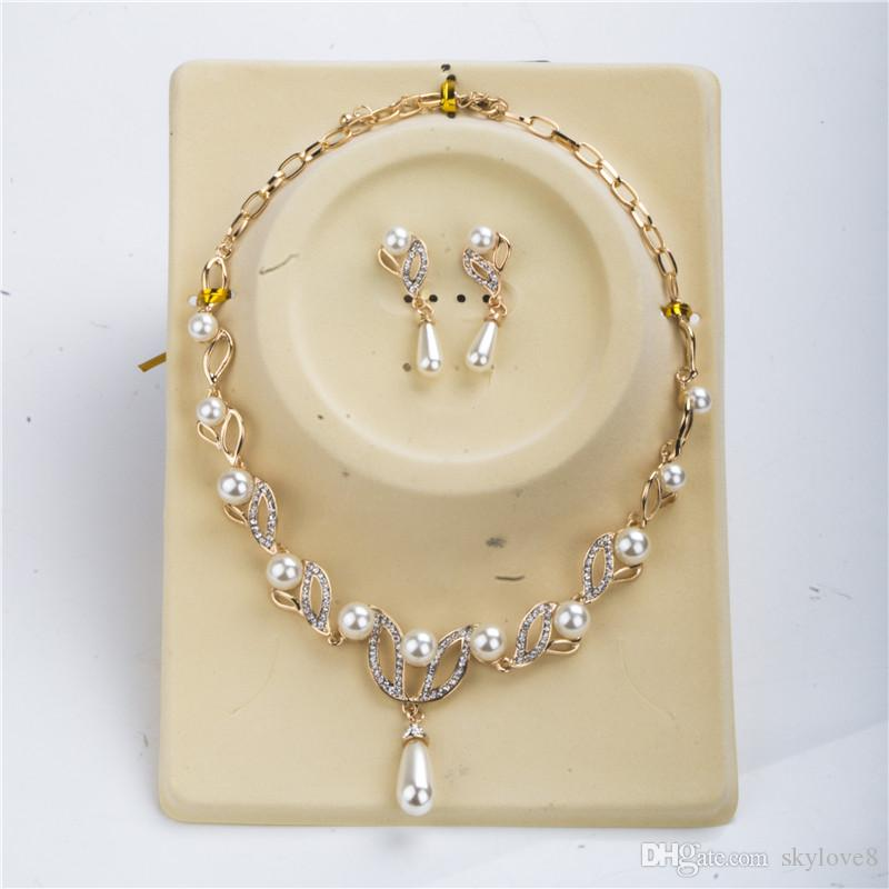 18k Gold Girl Pearl Necklace Pearl Earrings Sets Of Plant