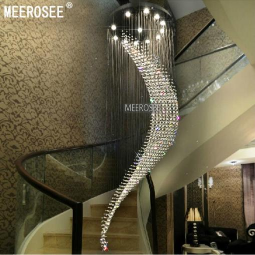 Wholesale Best Quality Brand Large Spiral Crystal Ceiling Light     Wholesale Best Quality Brand Large Spiral Crystal Ceiling Light Fixture Big  Lustres De Cristal Light Fitting Villa Crystal Lamp For Staircase  Hallway